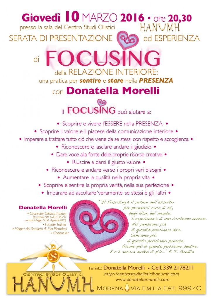 Serata di presentazione del Focusing al Centro Studi Olistici Hanumh - Modena